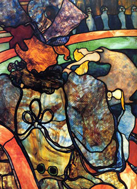 Louis Comfort Tiffany, At the New Circus, ca. 1894. Favrile stained glass, using Henri de Toulouse-Lautrec's watercolor At the Nouveau Cirque, 1892.