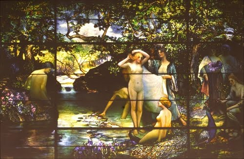 Color Autochrome, ca. 1914 of The Bathers by Louis Comfort Tiffany, Metropolitan Museum, NY. (destroyed).