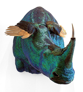 Enrique Gomez de Molina, Rhinoplasty, 2010. Hybrid taxidermy sculpture, using jewel beetle wings, peacock feathers and buffalo horn.