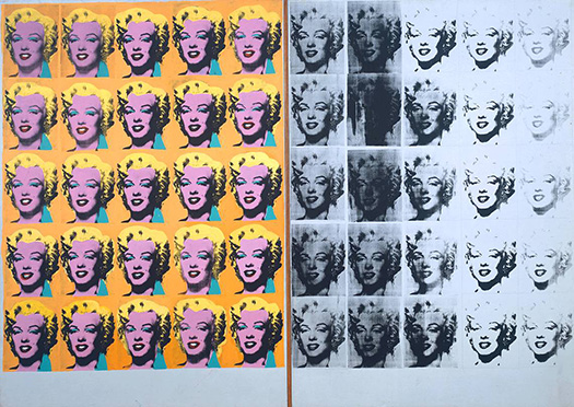 Andy Warhol, Marilyn Diptych, 1962. Acrylic on canvas, using an original publicity still of Marilyn Monroe from the film Niagara, 1953.