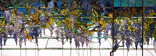 Wisteria Transom Panel, c. 1910–20, From the Dining Room of Laurelton Hall, Long Island, New York. Wisteria. Charles Hosmer Morse Museum, FL.