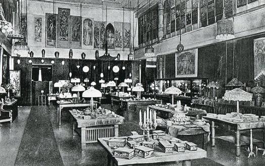 Tiffany Studios showroom, ca. 1913.