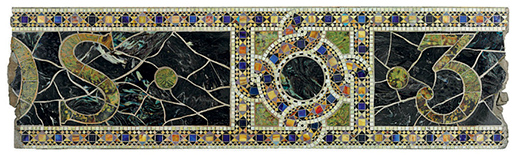 Favrile glass over concrete: Fragment of the mosaic sign from The Tiffany Studios building, 347-355 Madison Avenue, NY.