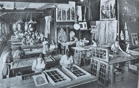 Workmen at Tiffany Studios.