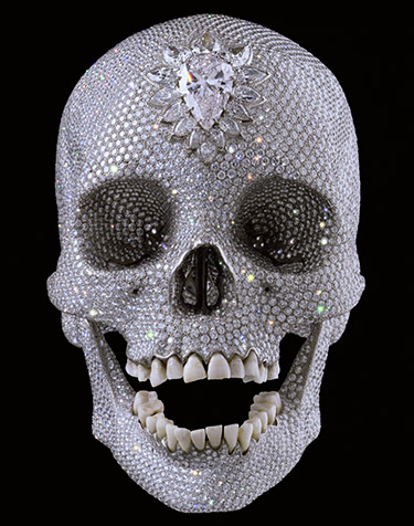 Damian Hirst, For the Love of God, 2007. Human skull with 8,601 diamonds.