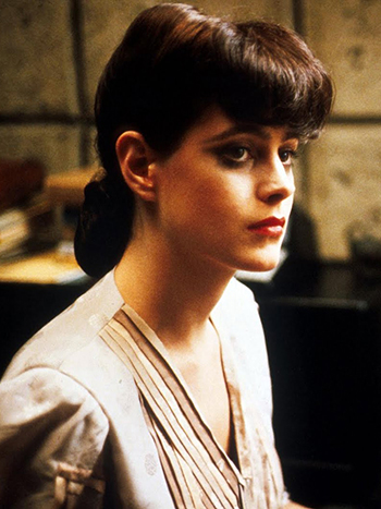 Actress Sean Young as Rachel, a Replicant, in Bladerunner, 1982.